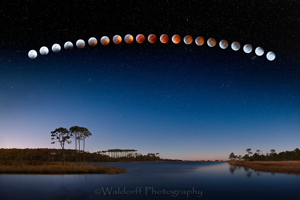 Time Lapse photo of the Lunar Eclipse taken over Western Lake at Grayton Beach along Hwy 30A in Florida  | Fine Art Photo on Canvas, Paper, Metal, & More | Waldorff Photography.