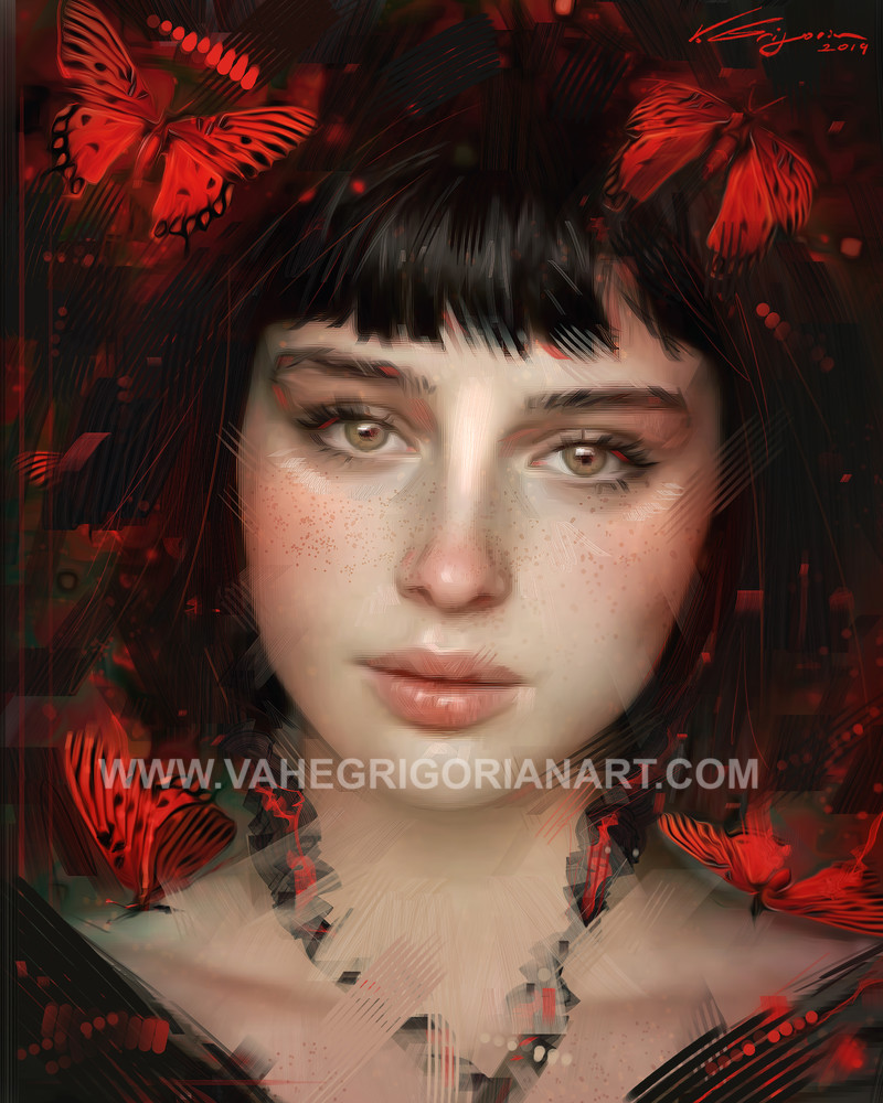 Red Butterflies - Fine Art by Vahe Grigorian Los Angeles CA Artist - Digital Prints available for Paper, Canvas,HD Acrylic, Metal and more.custom art, digital portrait, portraits , art for sale