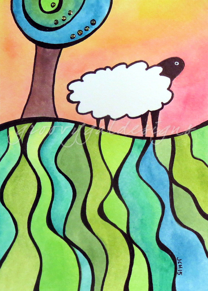Sheep On A Hill 2 Art For Sale