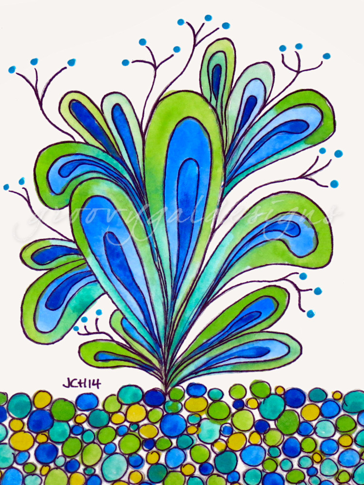 Happy Plant In Blue And Green Art For Sale