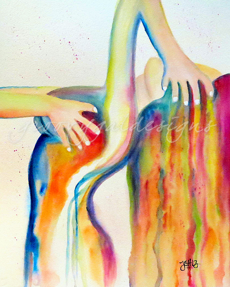 Bathing Watercolor Nude Art For Sale