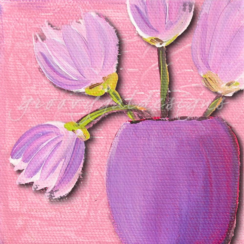 Purple Tulips On Pink Flower Art For Sale