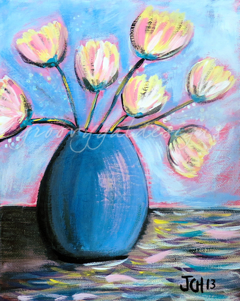 Tulips In A Blue Vase Flower Art For Sale