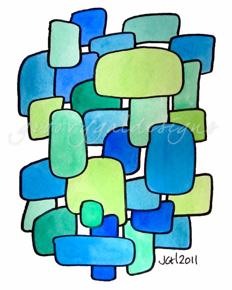 Beachglass Modern Watercolor Art For Sale