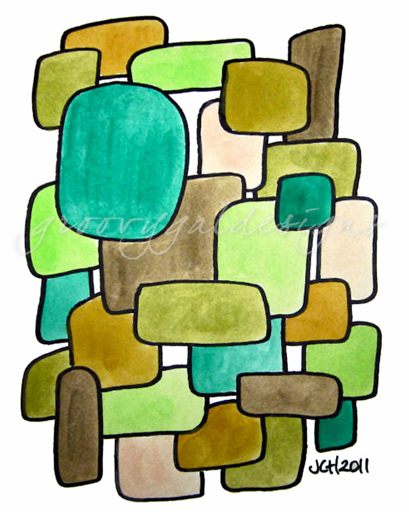 Earth Modern Watercolor Art For Sale