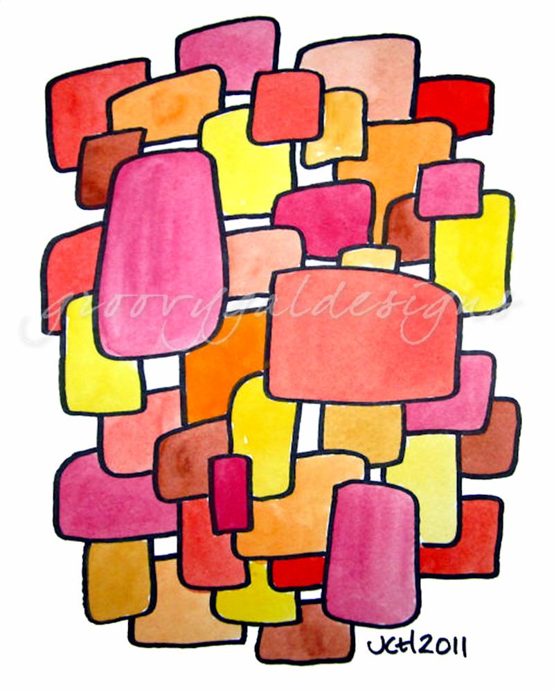 Fire Modern Watercolor Art For Sale