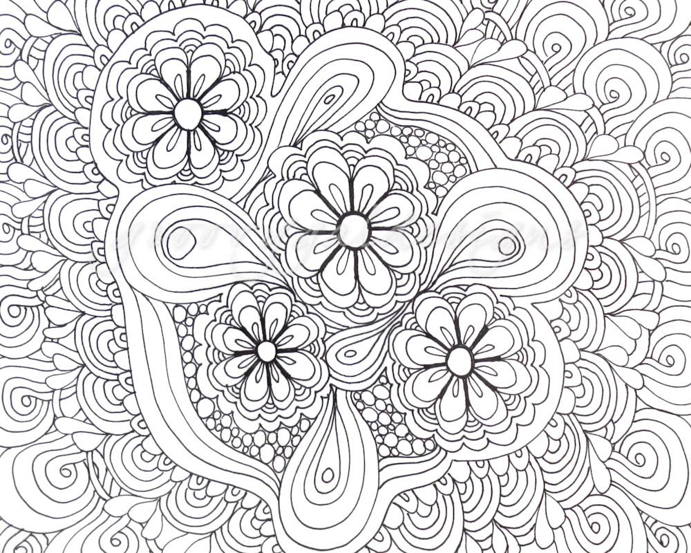 Flower Tangle Color It Art For Sale