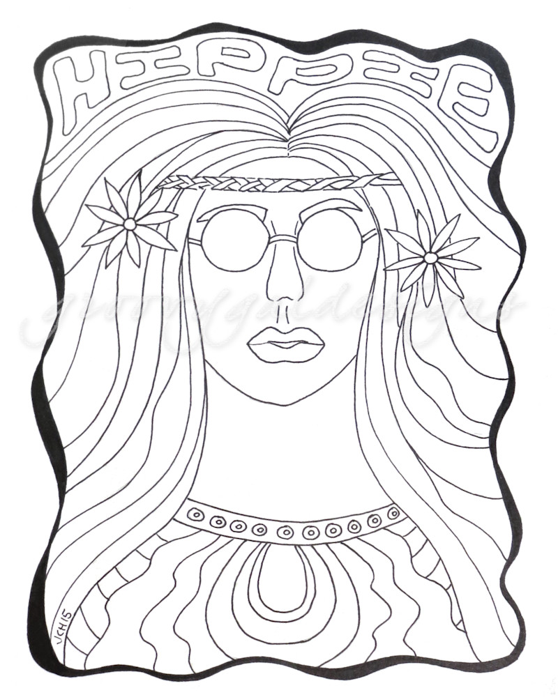 Hippie Chick Color It DIY Art For Sale