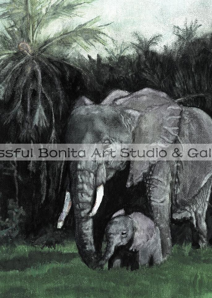 Elephants Mommy And Baby Vertical Art | Blissful Bonita Art Studio & Gallery