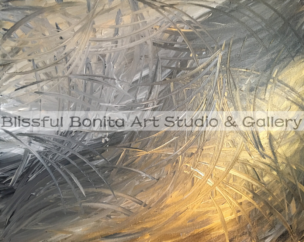Abstract Silver And Gold Art | Blissful Bonita Art Studio & Gallery