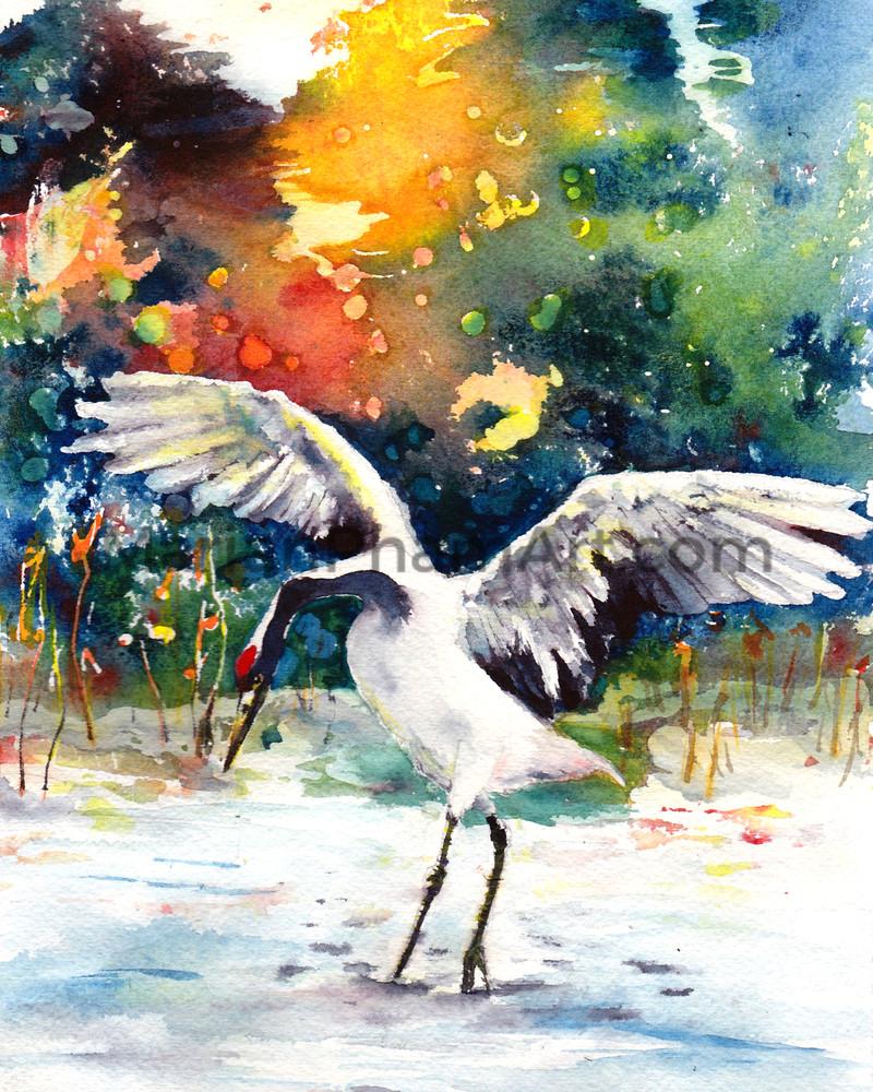 Watercolor Red Crown Crane In Winter Art   Marian Pham Art LLC