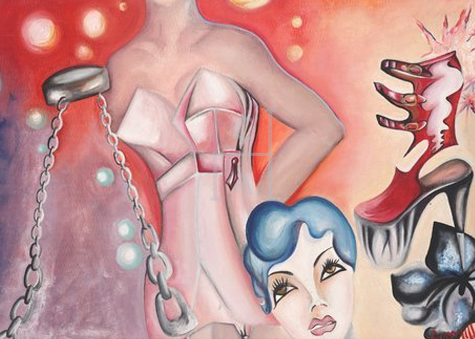 Corset and Chains' de Camille High Quality Giclee Print Art