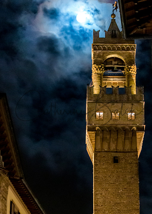 Full Moon in Florence: The Bell Tower at Night