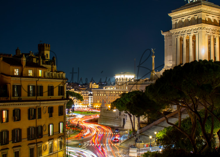 Light Trails In A Roman Nightscape Photography Art | Catherine Balck Photography
