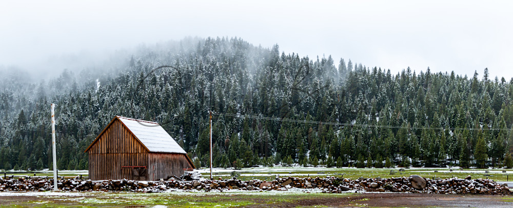 Snowy Barn In Childs Meadow Panoramic Photography Art | Catherine Balck Photography