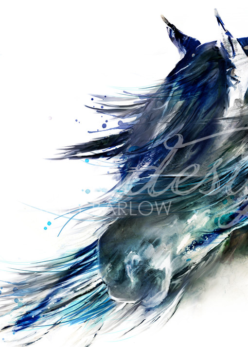 Black horse abstract horse painting