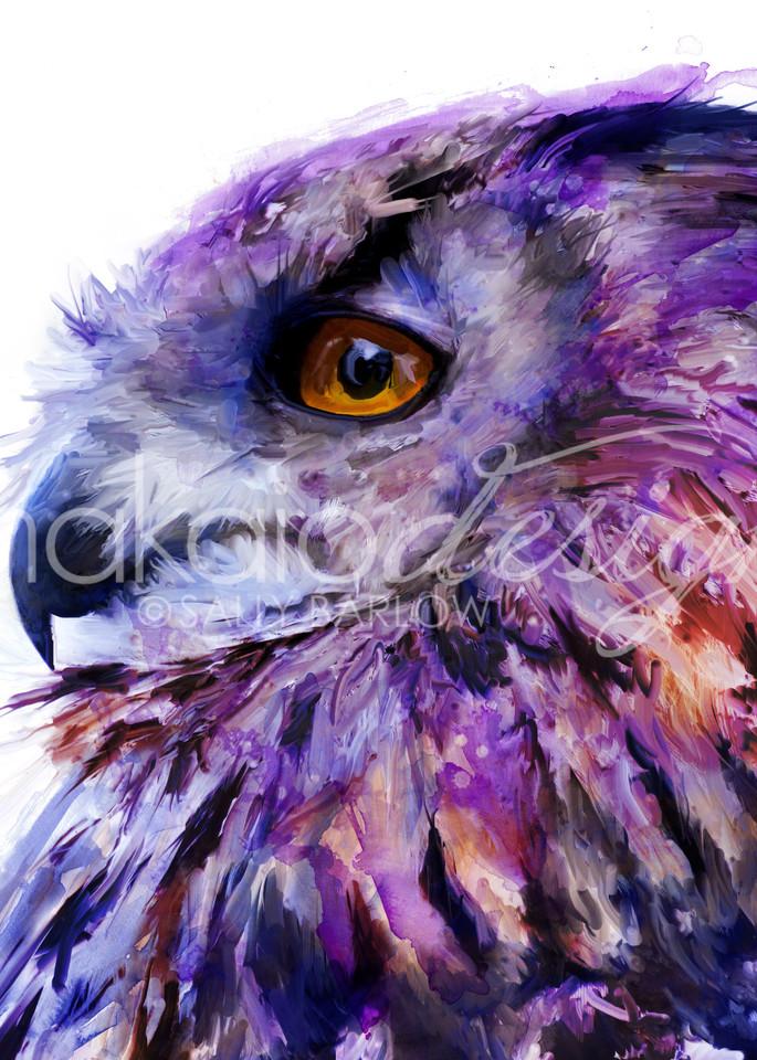 Purple Eurasian owl painting by Sally Barlow