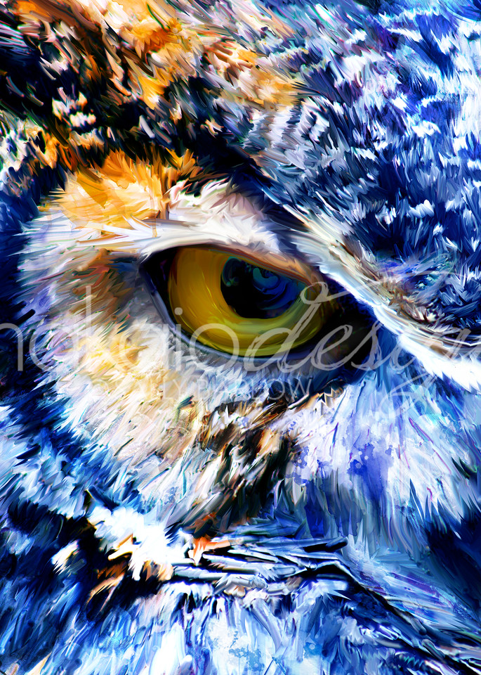 Great Horned owl painting by Sally Barlow
