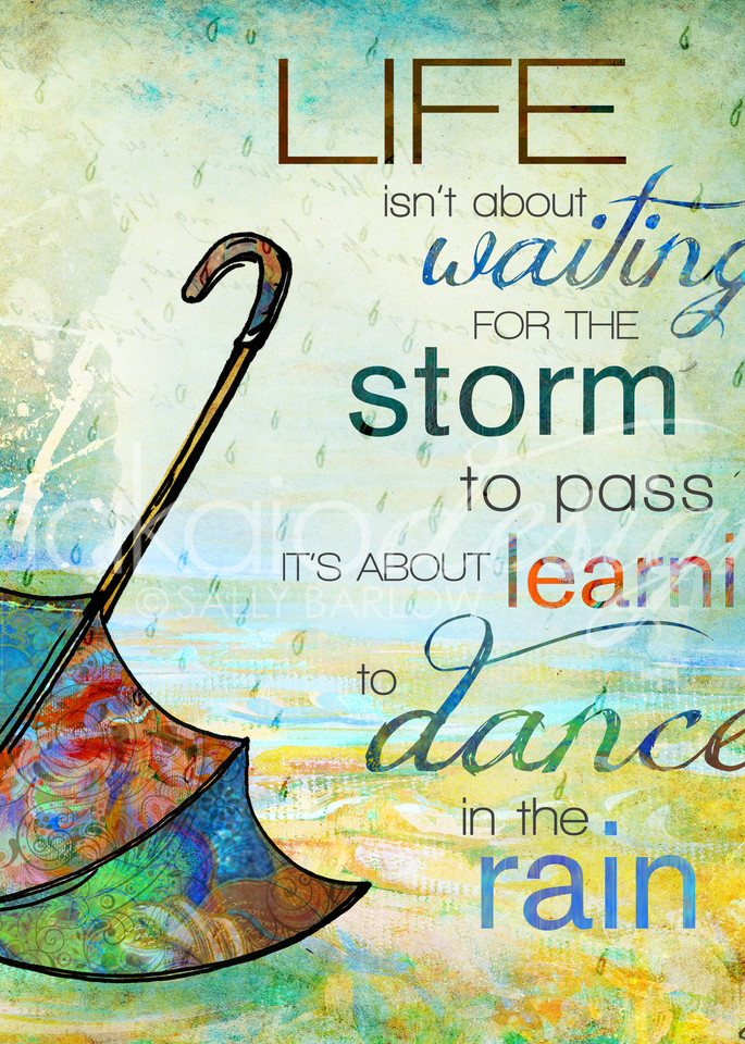 Dance int he rain bright colored inspirational art by Sally Barlow