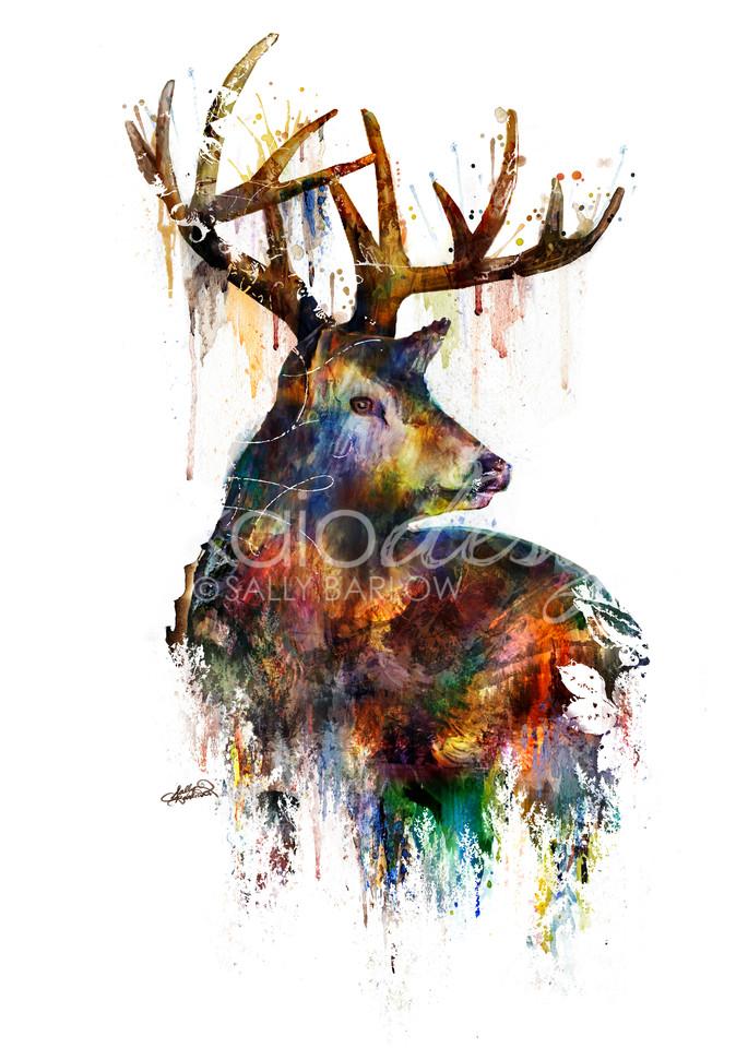Landscape Deer Art double exposure animal art by Sally Barlow