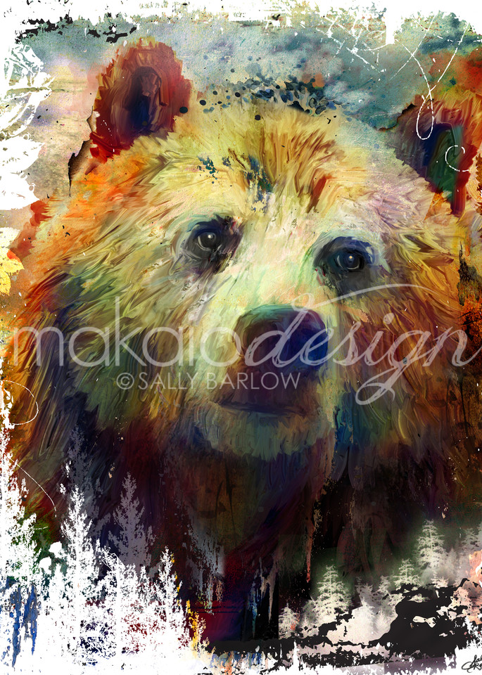 Landscape Animal Bear art by Sally Barlow