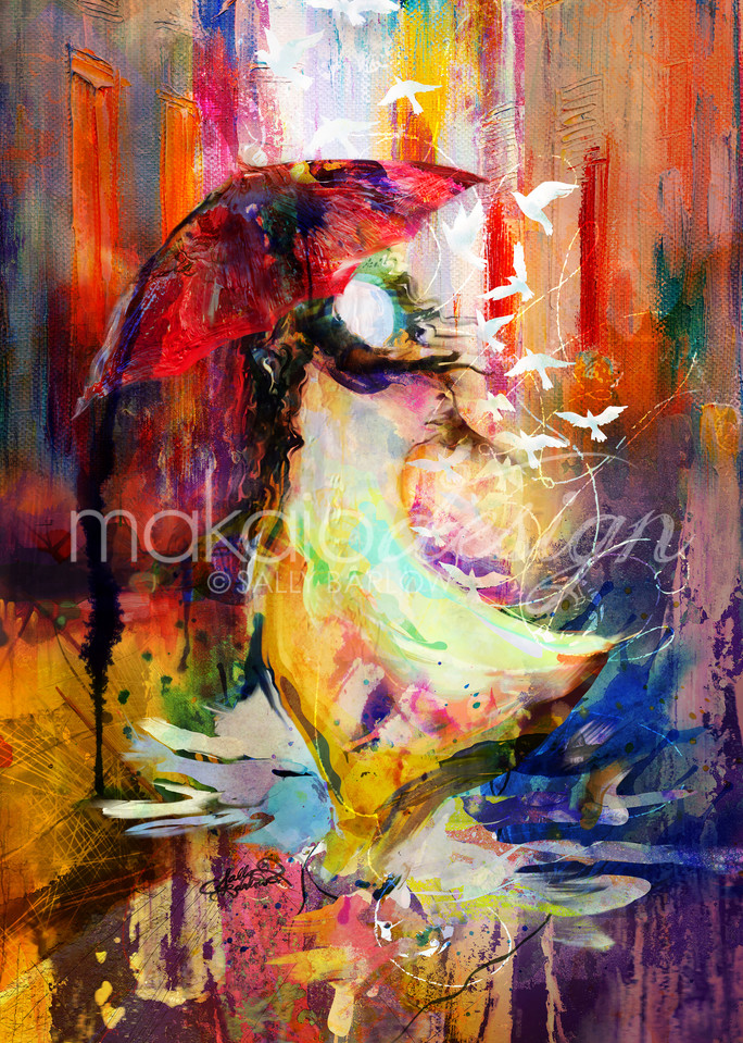 Colorful abstract mixed media painting by Sally Barlow