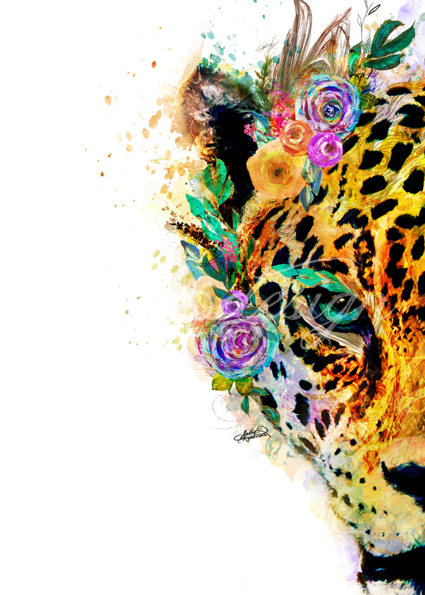 Bright and bold jaguar art with white background from the garden of the wild series by Sally Barlow
