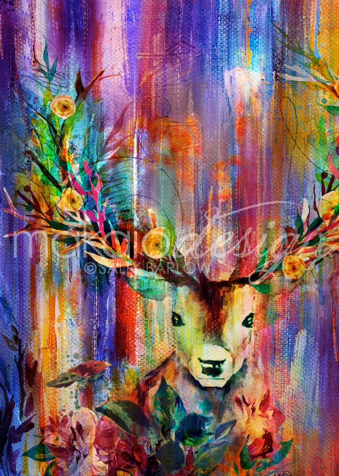 Colorful Enchanted Deer Painting