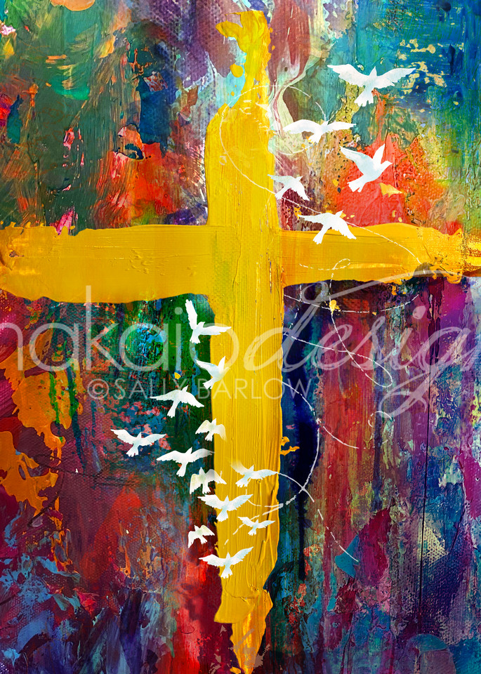 Colorful abstract cross art by Sally Barlow