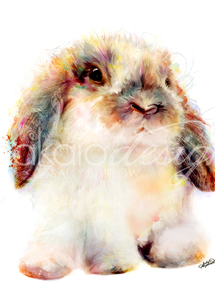 Adorably fluffy bunny art painting by Sally Barlow