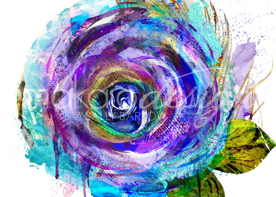 Bright Purple peacock flower art by Sally Barlow