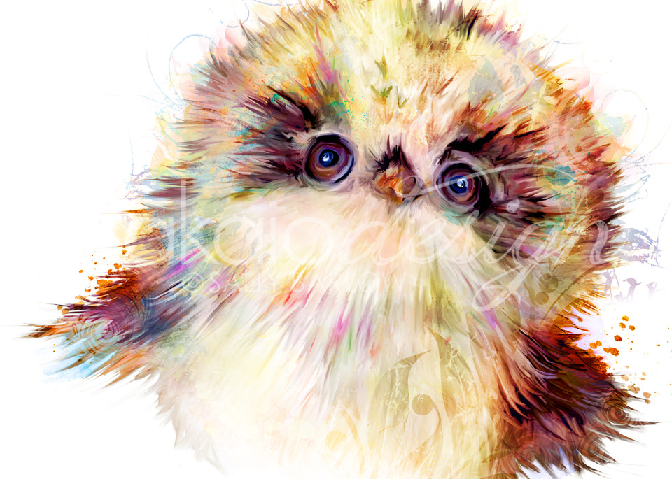 Fluffernutter baby fluffy owl adorable owl art painting by Sally Barlow