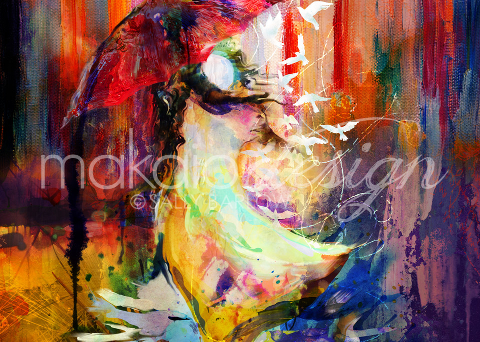Colorful abstract painting by Sally Barlow