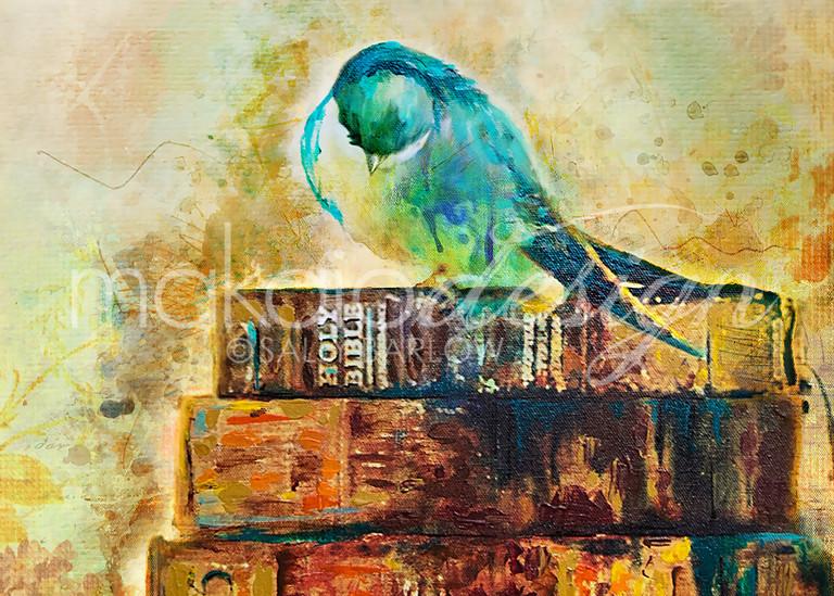 Praying Bird Mixed Media Painting print by Sally Barlow