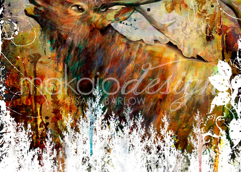 Mixed Media Elk Painting