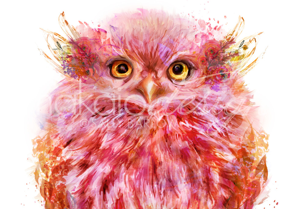 Coral pink fluffy baby owl square art print by Sally Barlow
