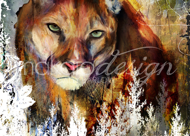 Untamed Terrain Puma mixed media art by Sally Barlow