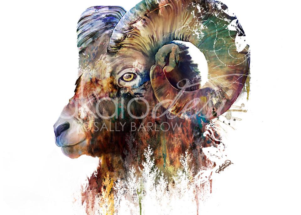 Big Horn Sheep landscape mixed media painting by Sally Barlow