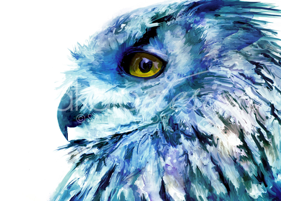 Unique eurasian owl painting in blue hues by sally barlow