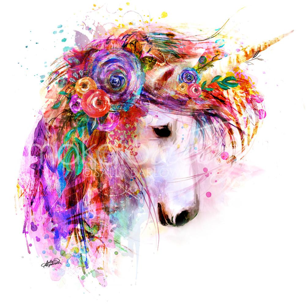 Bright unicorn art painting print by Sally Barlow