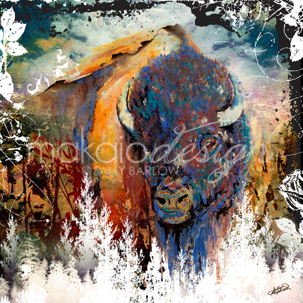 Buffalo Bison landscape mixed media painting by Sally Barlow