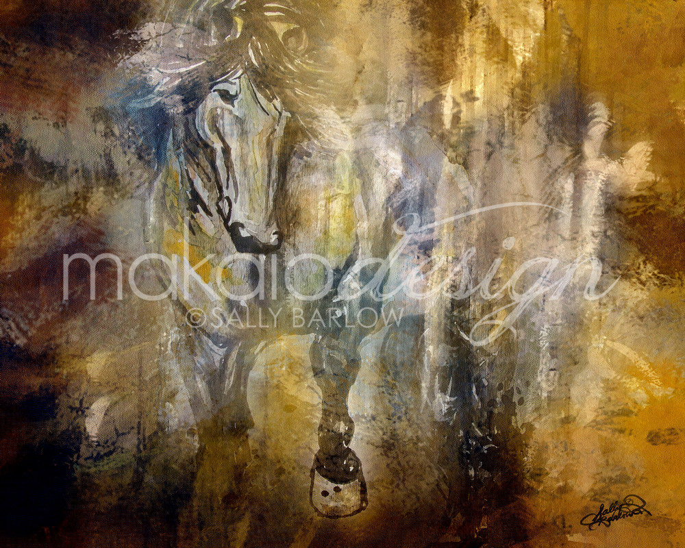 Out of the Shadows horse art print by Sally Barlow