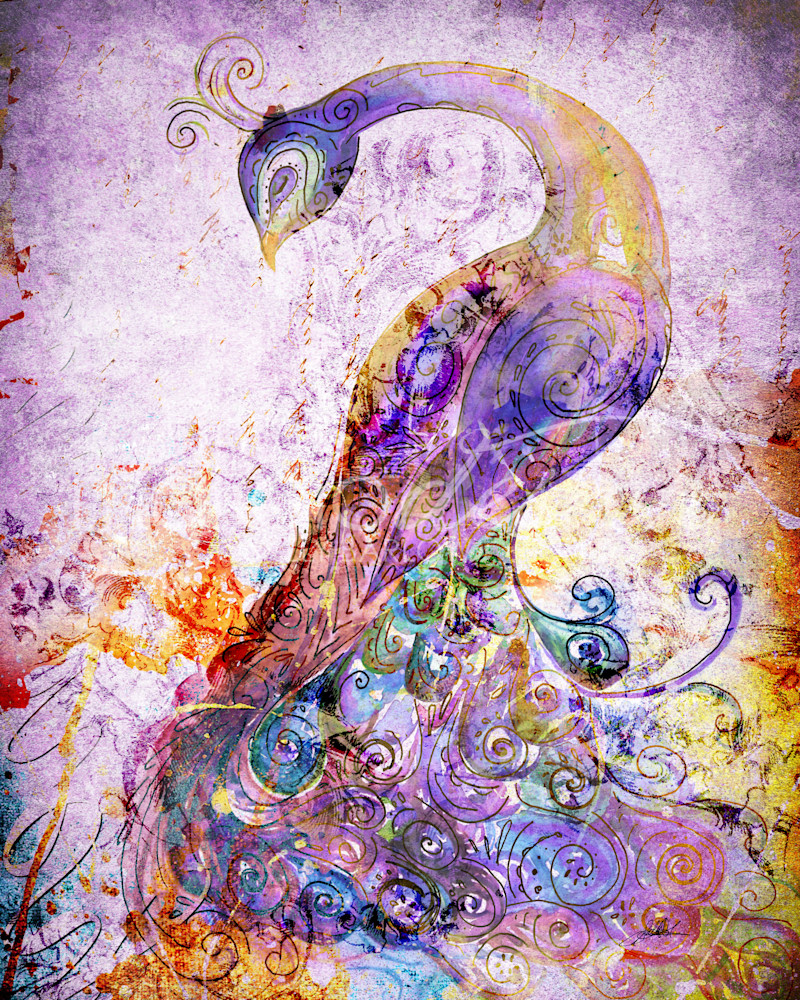 Royal purple peacock mixed media art print by Sally Barlow