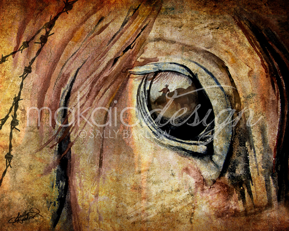 Perspective Horse Eye painting print by Sally Barlow
