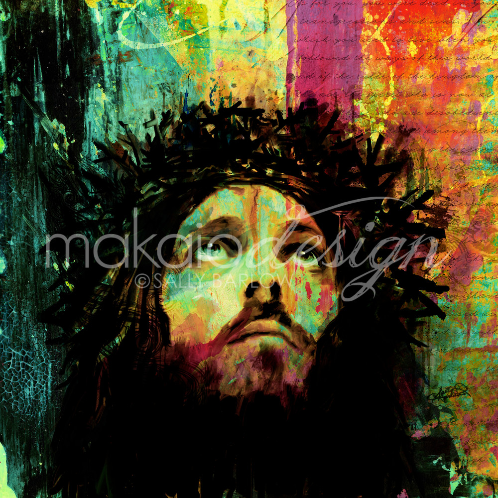 Abstract Jesus art painting by Sally Barlow