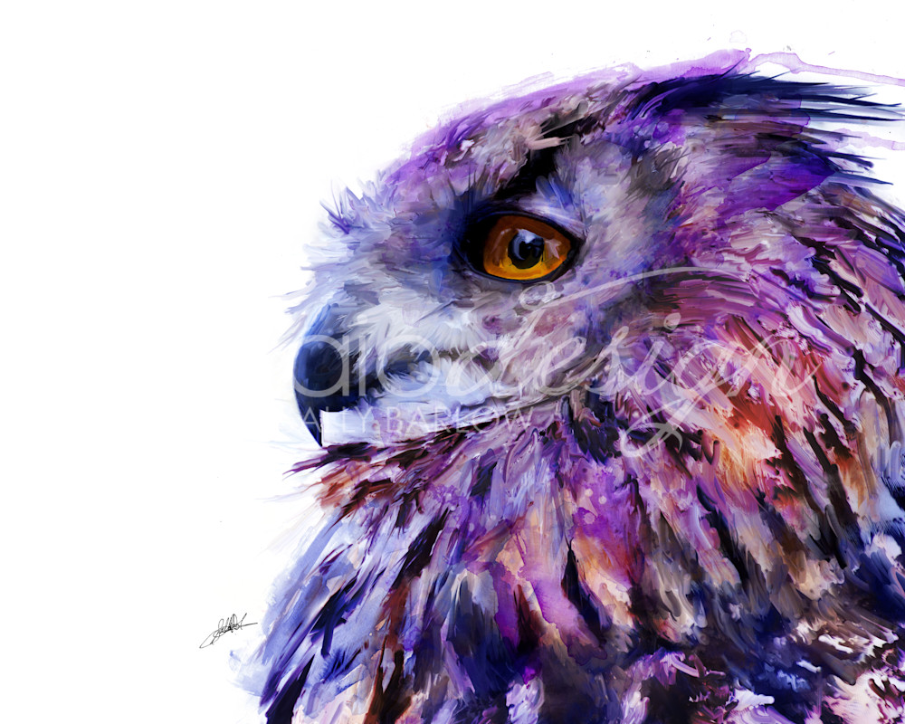Unique purple eurasian owl painting by sally barlow