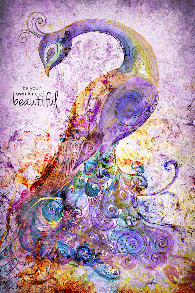Be Your Own Kind of Beautiful unique peacock word art by Sally Barlow
