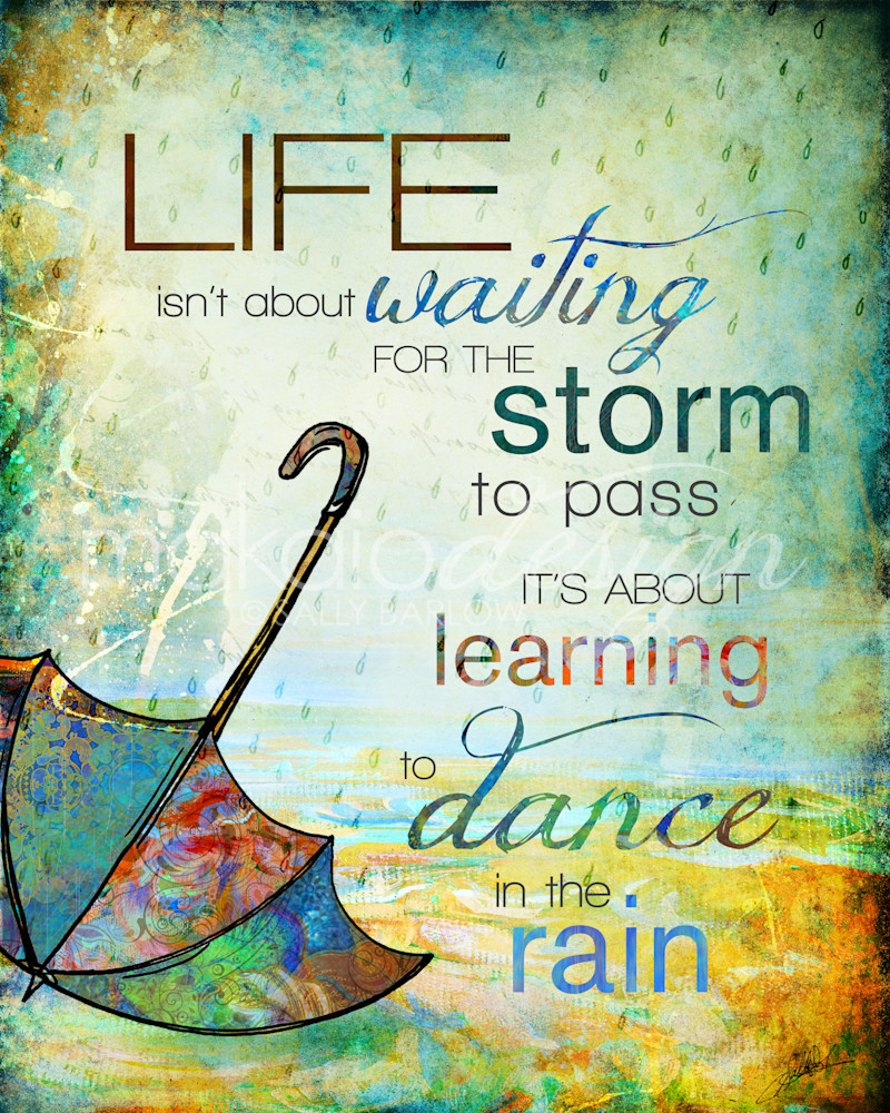 Bright Inspirational Dance in the Rain art by Sally Barlow