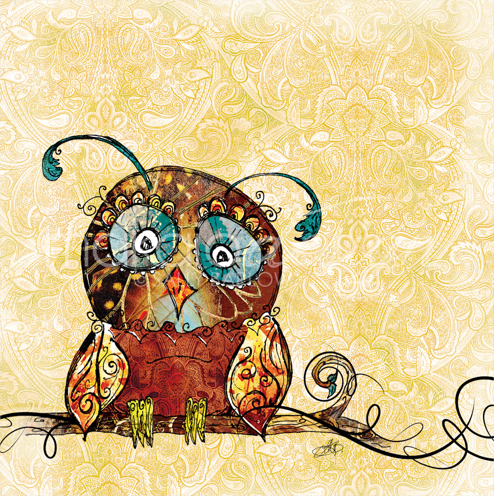 Whimsical baby owl illustration by Sally Barlow