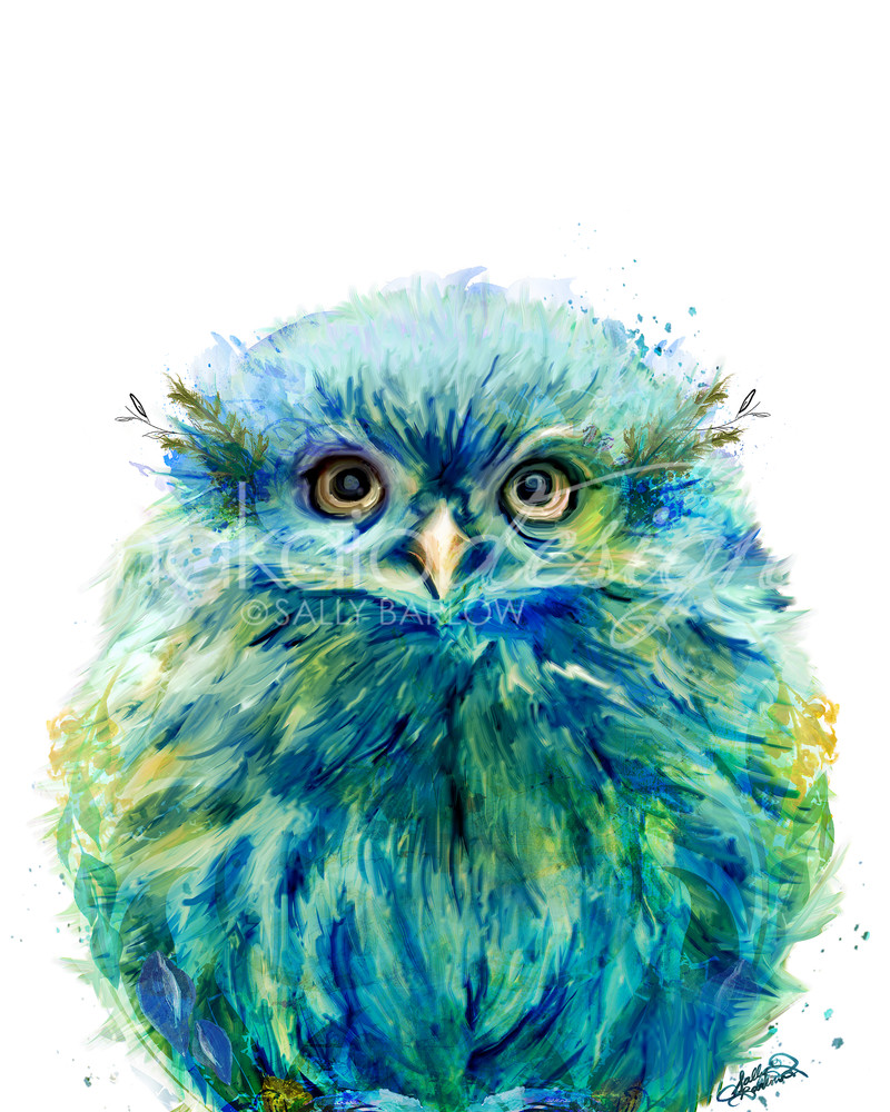Baby green fluffy owl art print by Sally Barlow